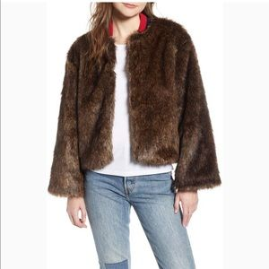NWT LEVI'S JETSETTER CROP FAUX FUR BOMBER JACKET